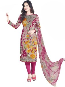 Varsha Collection Synthetic Printed Salwar Suit Dupatta Material