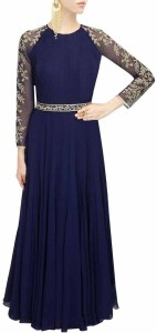 Style Amaze Georgette Embroidered Semi-stitched Gown