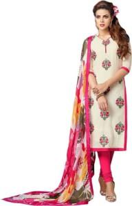 Zelly Creation Cotton Self Design Semi-stitched Salwar Suit Dupatta Material