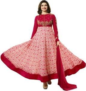 Bipolar Life Georgette Embroidered, Floral Print Semi-stitched Salwar Suit Dupatta Material