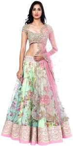2565324eda New Look Synthetic Embroidered Semi-stitched Lehenga Choli Material Price  List :