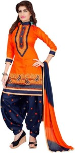 Vaidehi Fashion Cotton Embroidered Semi-stitched Salwar Suit Dupatta Material, Semi-stitched Salwar Suit Material