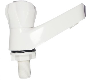 Saira White Plastic ABS Water Tap with Quarter-Turn operation - Pillar Cock Faucet Set