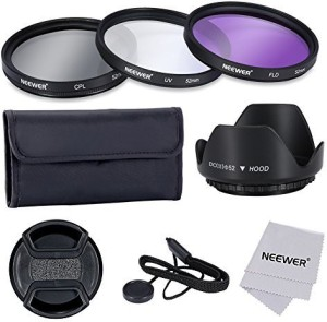 Neewer Neewer52Mm Professional Lens Filter Accessory Kit Includes - 152Mm Filter Kit Uv - Cpl - Fld + 1Tulip Lens Hood + 1Snap-On Lens Cap + 1Cap Keeper Leash + 1 UV Filter