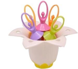 Shopo Flower Fairy Salad Dessert & Fruit Serving Disposable Plastic Dessert Fork Set