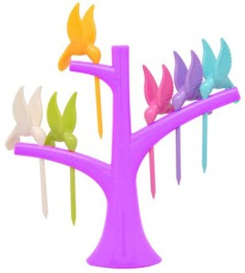 Shopo Humming Bird Disposable Plastic Fruit Fork Set
