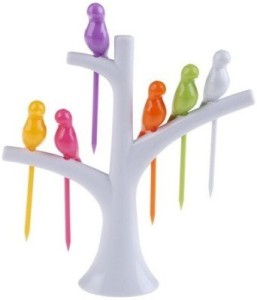 E'Shop Birdie Plastic Fruit Fork Set