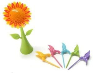 iStore Sunflower Design Plastic Fruit Fork Set