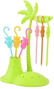Infinxt Colorful Monkey Shaped Fruit Fork Set Plastic Table Fork