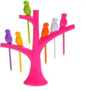 Luxantra Creative Birdies on a tree Plastic Fruit Fork Set