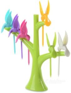 Divinext Humming Bird Plastic Fruit Fork Set
