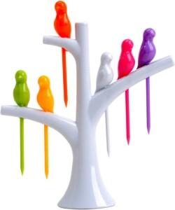 PeepalComm Creative Birdies On A Tree Disposable Plastic Fruit Fork Set