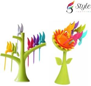 Style Feathers Sunflower,Hamming Bird Plastic Fruit Fork Set