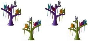 Gade Pack of 4 Birdie-24pcs Plastic Fruit Fork