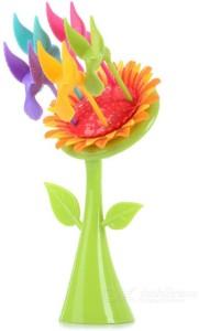 Shopo Lovely Sunflower Design Set Plastic Fruit Fork Set