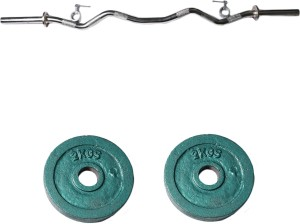 Royal 2kg_2pc_Casting_green_plates+3ft_1pc_Curve_rod_withlock Weight Plate