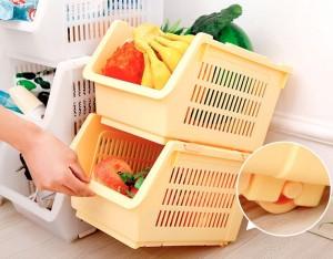 Pindia Plastic Kitchen Storage Stacking Rack And Storage Bins Plastic Fruit & Vegetable Basket