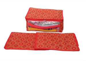 Kuber Industries Designer Saree Cover Set of 3 Pcs in Bandhani Cloth Material (Red) MKU006651