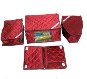 Kuber Industries Designer Saree, Blouse & Peticot & Lingerie Cover In Maroon Satin 4 Pcs Combo MKU0050058