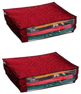 Kuber Industries Designer Saree Cover In Quilted Satin with Large Size Set of 2 Pcs (Maroon) Perfect Wedding Solution Gift MKU0015519