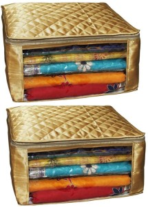 Kuber Industries Designer Saree Cover Golden Quilted Set of 2 pcs MKUSC405