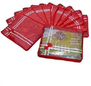 Kuber Industries Designer Saree Cover Non Wooven Material 12 Pcs Set (Red) sc040