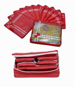 Kuber Industries Designer Special Combo, 12 pcs of Bow Saree Cover, Jewellery Kit 1 Big MKUM106