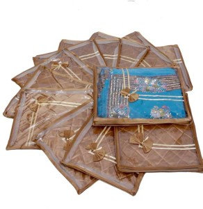 Kuber Industries Designer Saree Cover 12 Pcs Combo in Heavy Quilted Satin (Golden) MKUSCGS101