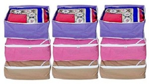 Kuber Industries Designer Non woven Saree cover 9 pcs combo/Wardrobe Organiser/Regular Clothes Bag SC080