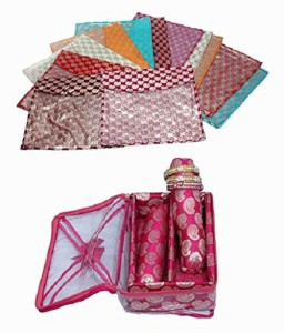 Kuber Industries Designer Saree Cover 12 Pcs in Brocade , Two Roll Bangle Box in Brocade sc058