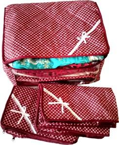 Indi Bargain Printed Maroon Combo of 3 Transparent Multi Saree Cover