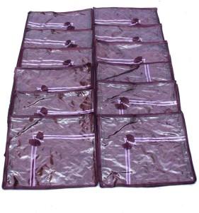 Kuber Industries Designer Saree Cover 12 Pcs Combo In Purple Satin MKU5045
