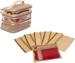 Kuber Industries Designer Saree Cover Set Of 6 Pcs & Make Up Kit, Vanity Kit, Cosmetic Kit, Jewellery Kit (Jute Design) SLT033