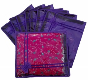 Ombags & More Handmade Set Of 8 Transparent Double Saree Cover ks022