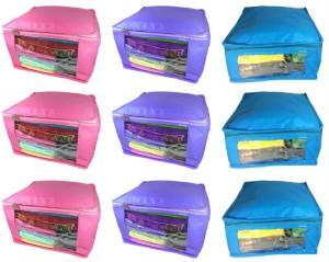 Abhinidi High Quality Combo deal Large 3pc pink saree cover 3pc blue sari cover and 3pc purple saree box Capacity 10-15 Units Saree/Blouse Each