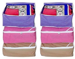 Kuber Industries Designer Non woven Saree cover 6 pcs combo/Wardrobe Organiser/Regular Clothes Bag SC081