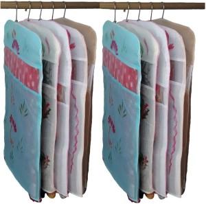 Kuber Industries Designer Transparent Kota Doria Hanging Saree Cover - Set Of 10 Pcs sc044