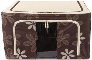 Kuber Industries Designer Saree Cover /Lehenga/Woolens Storage Box with Steel Frames - Flower SKU007607
