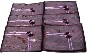 Kuber Industries Designer Saree Cover 6 Pcs Combo In Purple Satin SC46