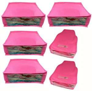 Abhinidi Non-Woven Combo of 4PC Saree and 2PC Blouse Cover Upto 5 - 6SC and 9-10BC each
