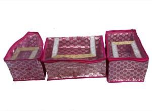 Kuber Industries Designer Saree, Blouse & Peticot Cover In Pink Designer Brocade 3 Pcs Set SC90