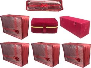 Annapurna Sales Designer Large Saree Covers and Churi/Bangles and jewellery and Ring Kits - Set of 7 Pcs. Maroon0080
