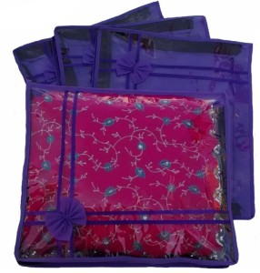 Ombags & More Handmade Set Of 4 Transparent Double Saree Cover ks016