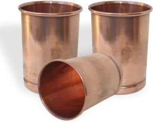 Dakshcraft Copper Glass Drinkware Asian Kitchen Accessory,Set of 3 Glasses Glass Set