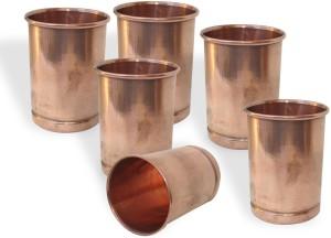 Dakshcraft Copper Glass Drinkware Asian Kitchen Accessory,Set of 6 Glasses Glass Set