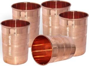 Dakshcraft Handmade Pure Copper Tumbler Glass, Set of 5 Glasses Glass Set