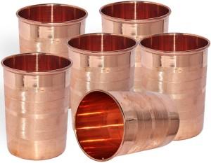 Dakshcraft Handmade Pure Copper Tumbler Glass, Set of 6 Glasses Glass Set