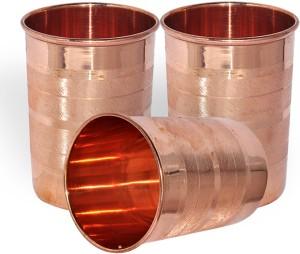 Dakshcraft Handmade Pure Copper Tumbler Glass, Set of 3 Glasses Glass Set
