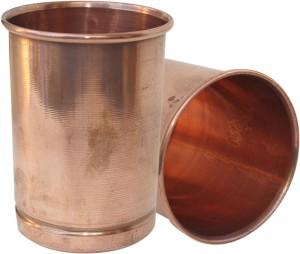 Dakshcraft Copper Glass Drinkware Asian Kitchen Accessory,Set of 2 Glasses Glass Set