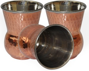 Dakshcraft Handmade Copper Tumbler Drinkware Accessories, Set of 3 Glass Set